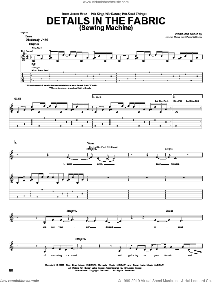 Details In The Fabric (Sewing Machine) sheet music for guitar (tablature) by Dan Wilson and Jason Mraz. Score Image Preview.