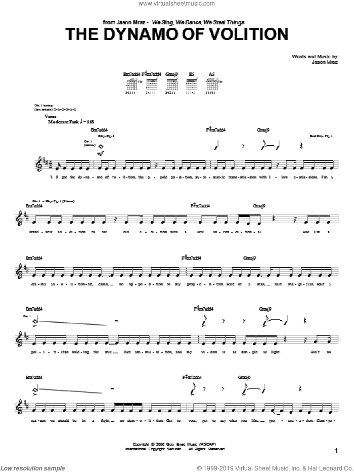 The Dynamo Of Volition sheet music for guitar (tablature) by Jason Mraz. Score Image Preview.