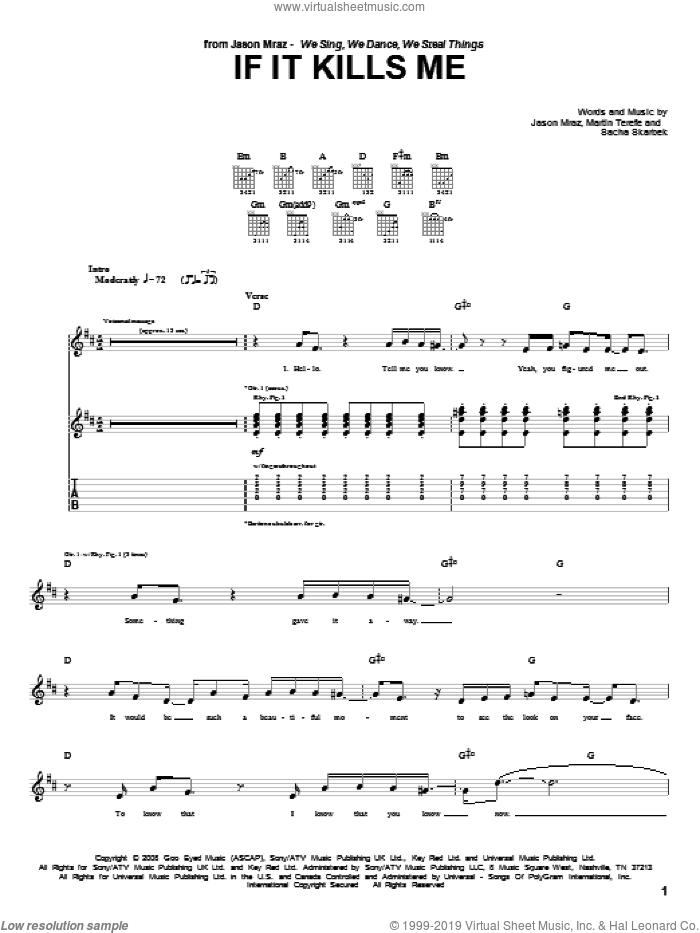 If It Kills Me sheet music for guitar (tablature) by Jason Mraz, Martin Terefe and Sacha Skarbek, intermediate skill level