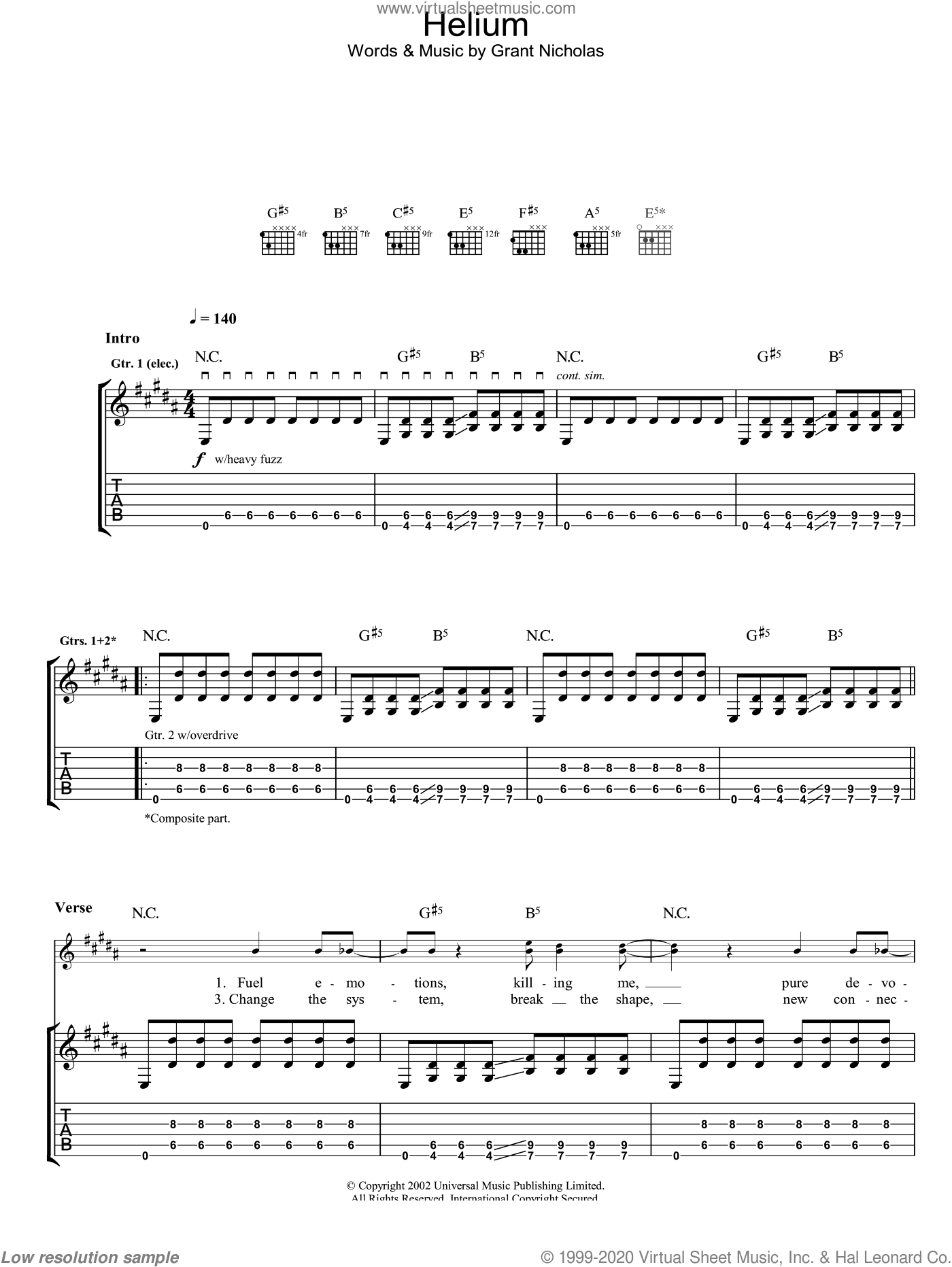 Helium sheet music for guitar (tablature) by Feeder. Score Image Preview.