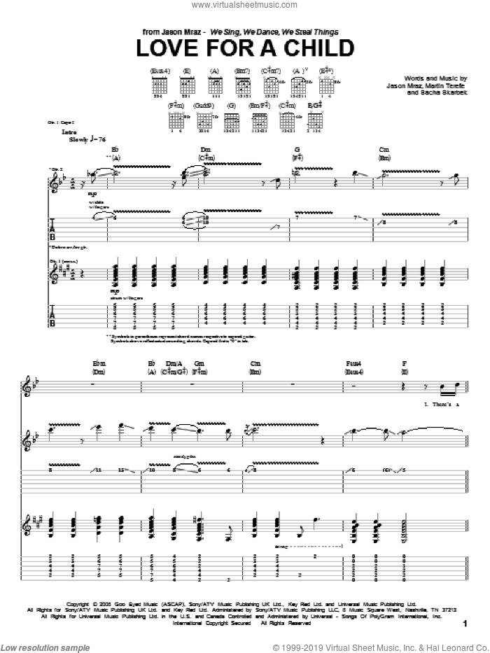 Love For A Child sheet music for guitar (tablature) by Jason Mraz, Martin Terefe and Sacha Skarbek, intermediate. Score Image Preview.