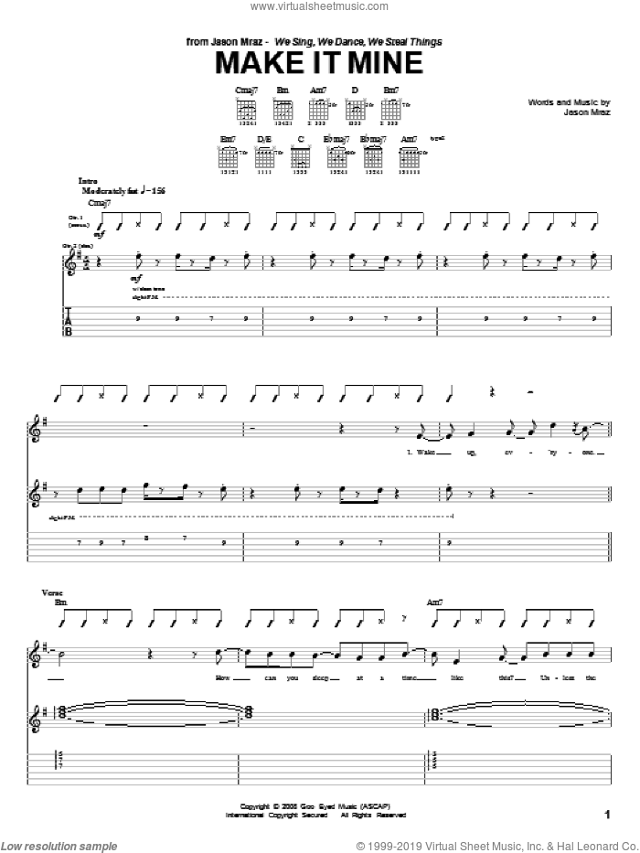 Make It Mine sheet music for guitar (tablature) by Jason Mraz, intermediate skill level