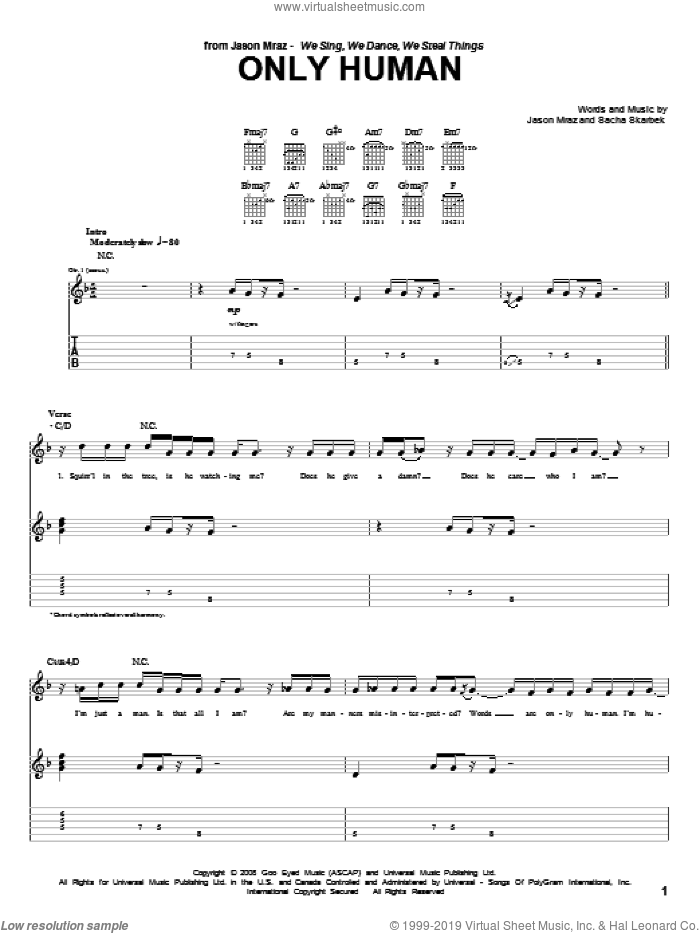 Only Human sheet music for guitar (tablature) by Jason Mraz and Sacha Skarbek, intermediate skill level