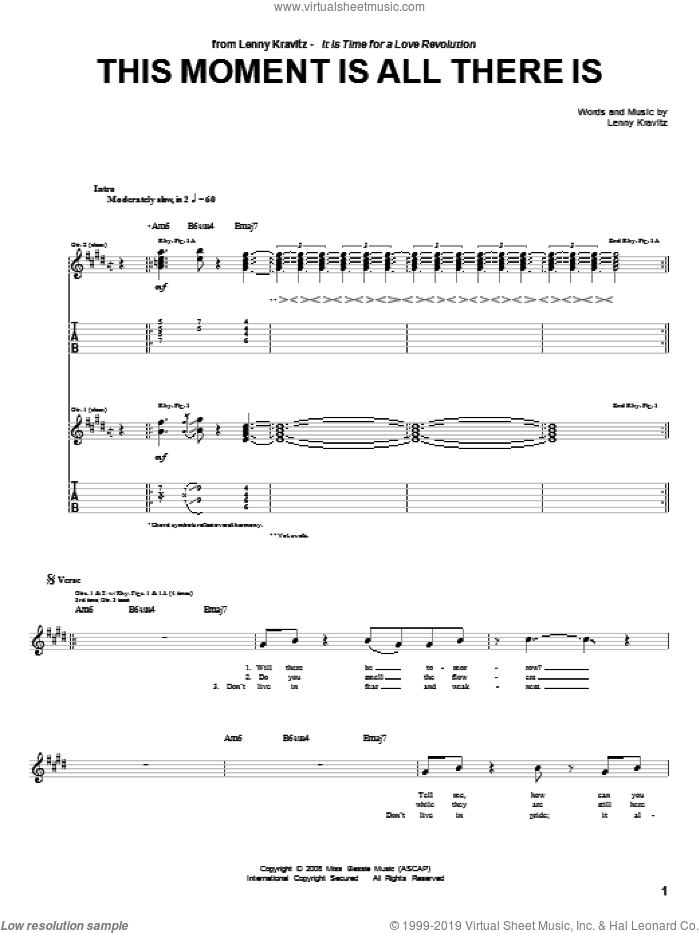 Kravitz - This Moment Is All There Is sheet music for guitar (tablature)