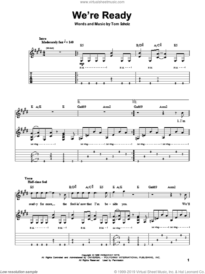 We're Ready sheet music for guitar (tablature, play-along) by Tom Scholz. Score Image Preview.