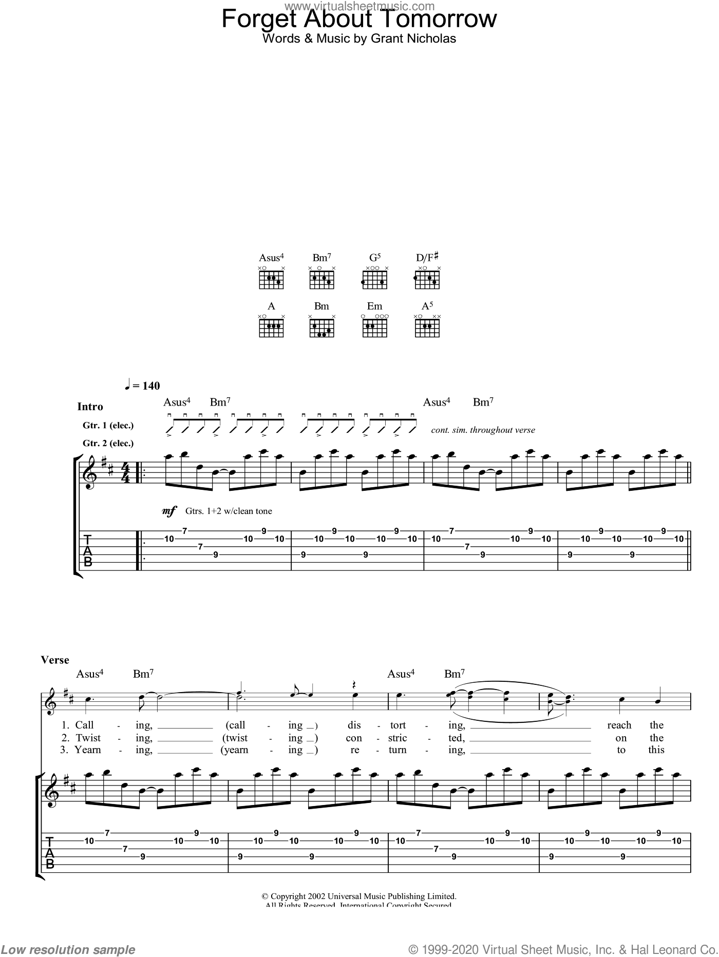 Forget About Tomorrow sheet music for guitar (tablature) by Feeder. Score Image Preview.