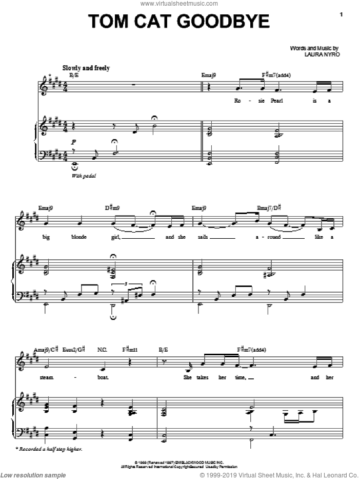 Tom Cat Goodbye sheet music for voice and piano by Audra McDonald and Laura Nyro. Score Image Preview.