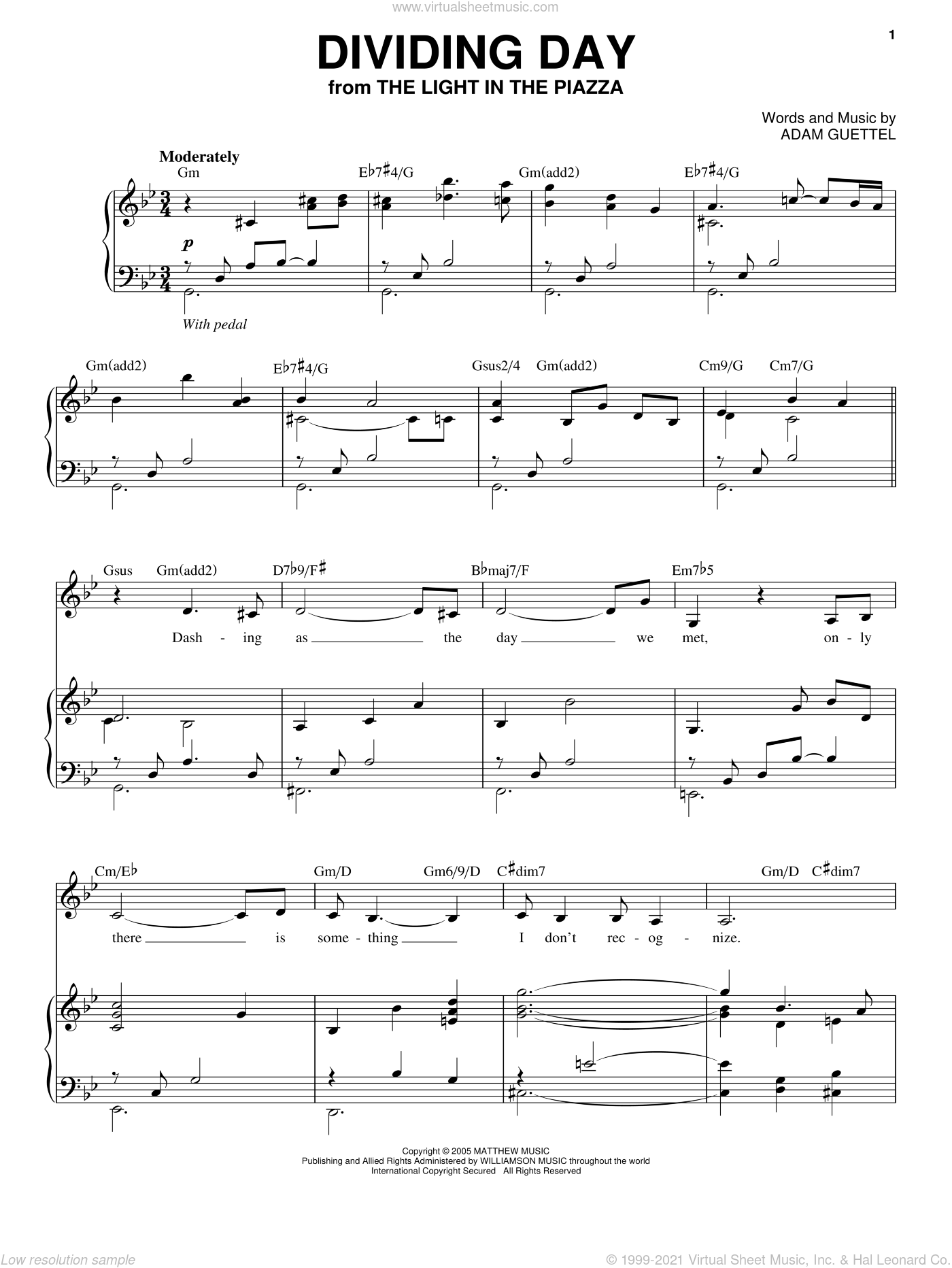 Dividing Day sheet music for voice and piano by Audra McDonald, The Light In The Piazza (Musical) and Adam Guettel, intermediate skill level