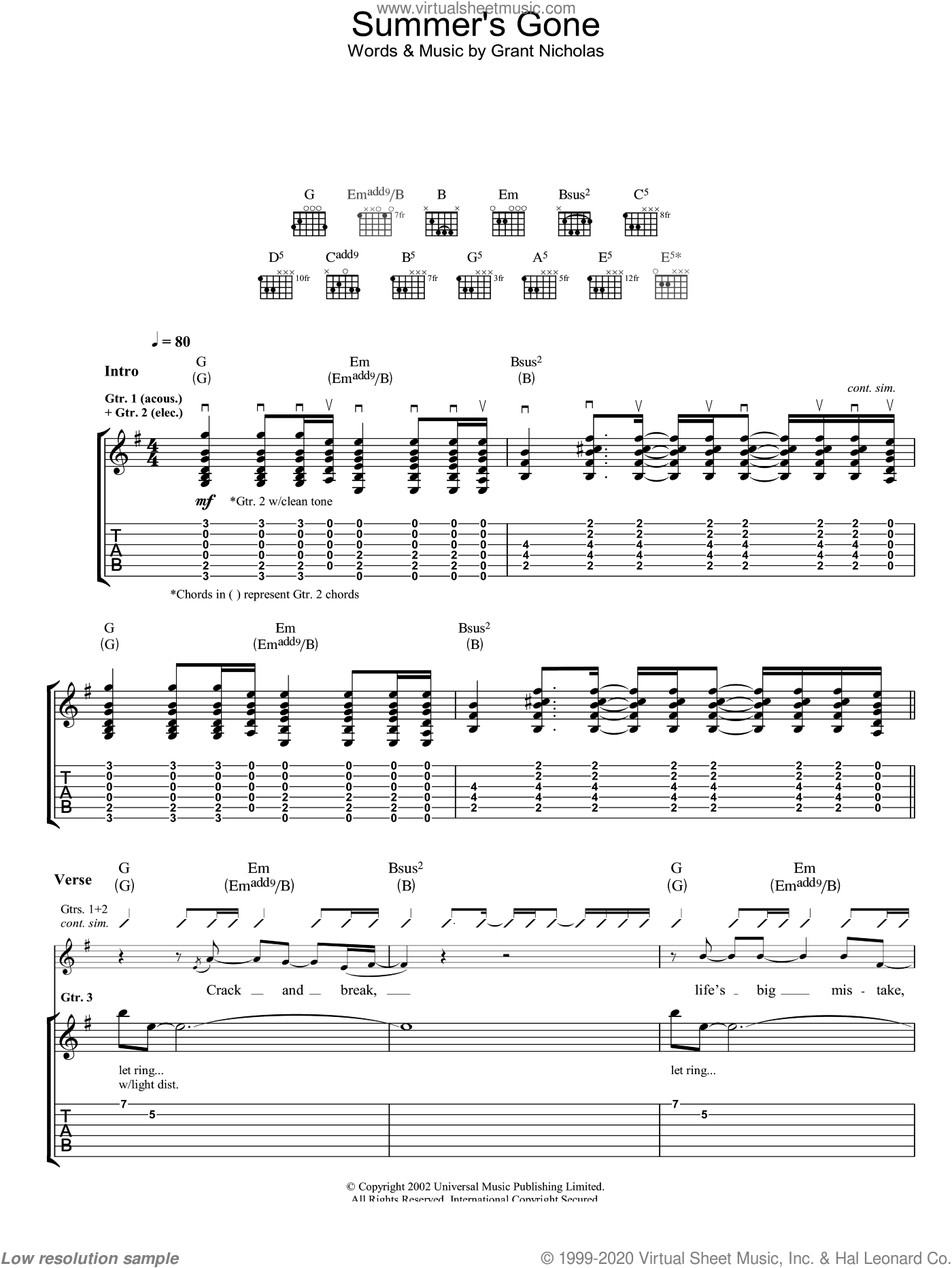 Summer's Gone sheet music for guitar (tablature) by Feeder, intermediate. Score Image Preview.