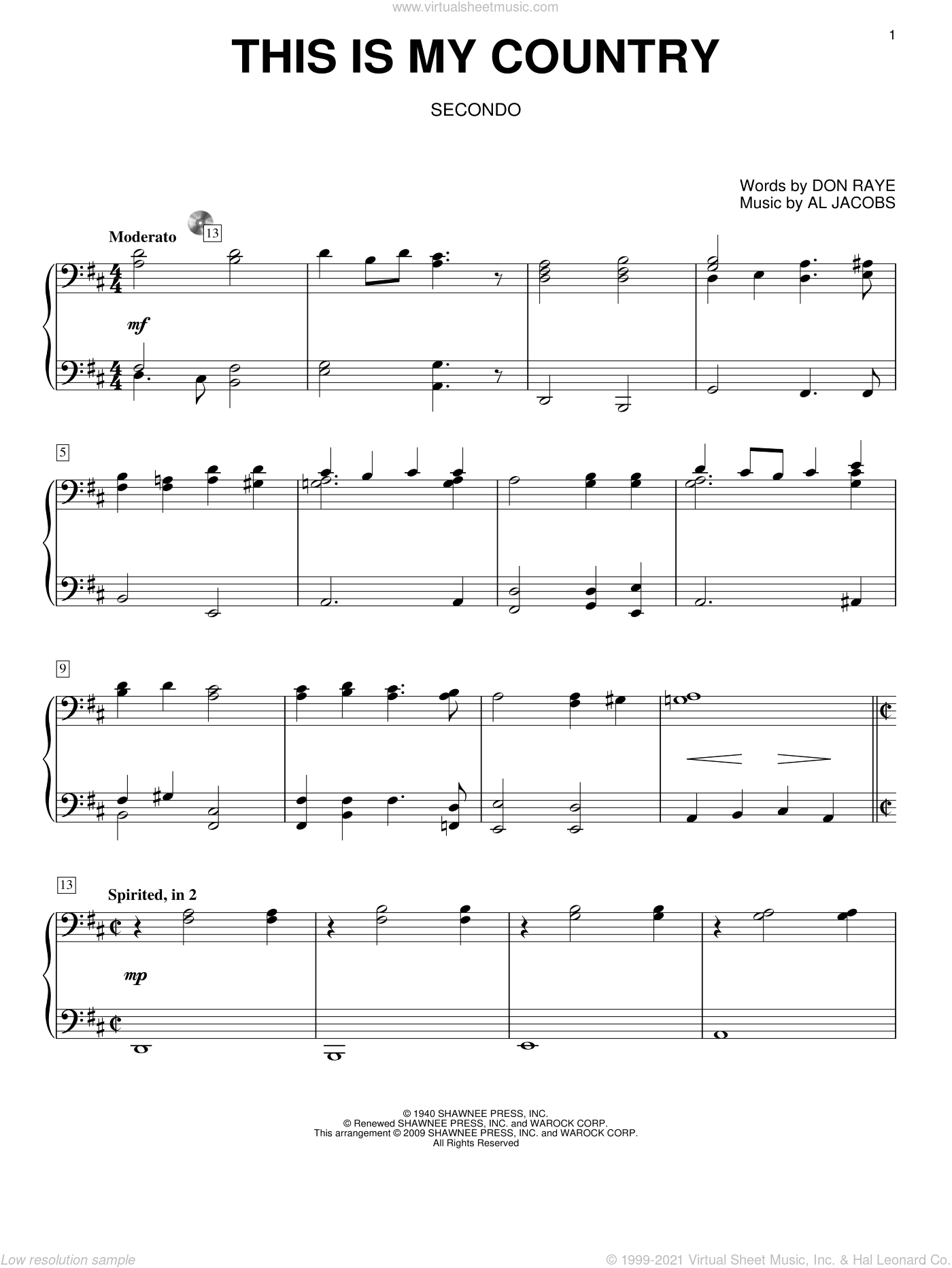 This Is My Country sheet music for piano four hands by Tennessee Ernie Ford, Al Jacobs and Don Raye, intermediate skill level