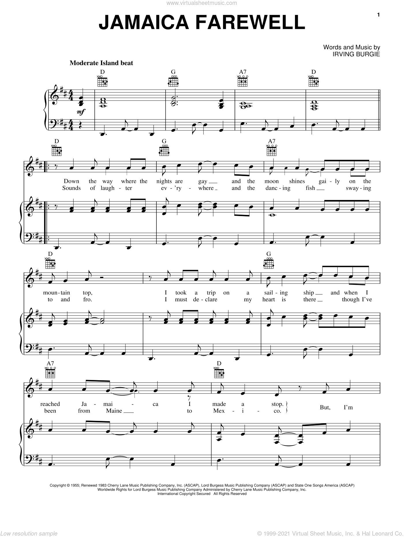 Jamaica Farewell sheet music for voice, piano or guitar by Harry Belafonte and Irving Burgie. Score Image Preview.