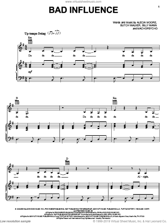 Bad Influence sheet music for voice, piano or guitar , Alecia Moore, Billy Mann, Butch Walker and Machopsycho, intermediate. Score Image Preview.