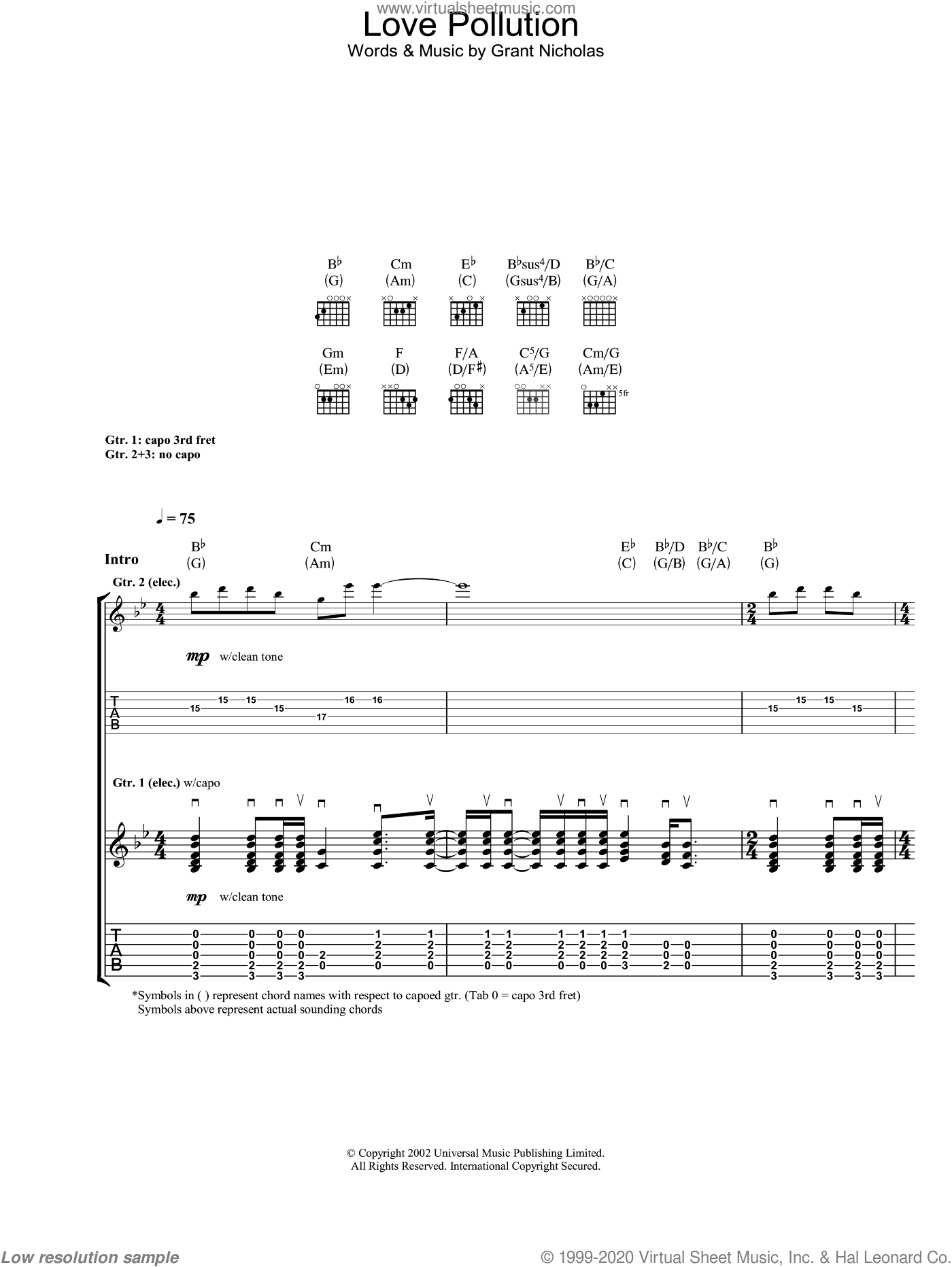 Love Pollution sheet music for guitar (tablature) by Feeder. Score Image Preview.