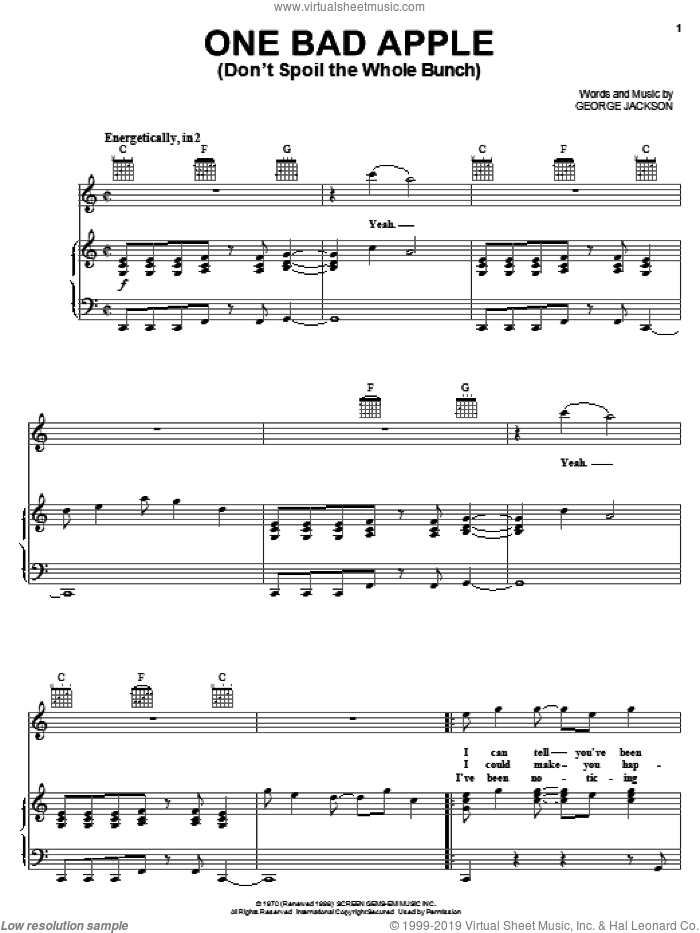 One Bad Apple (Don't Spoil The Whole Bunch) sheet music for voice, piano or guitar by The Jackson 5 and Michael Jackson, intermediate. Score Image Preview.