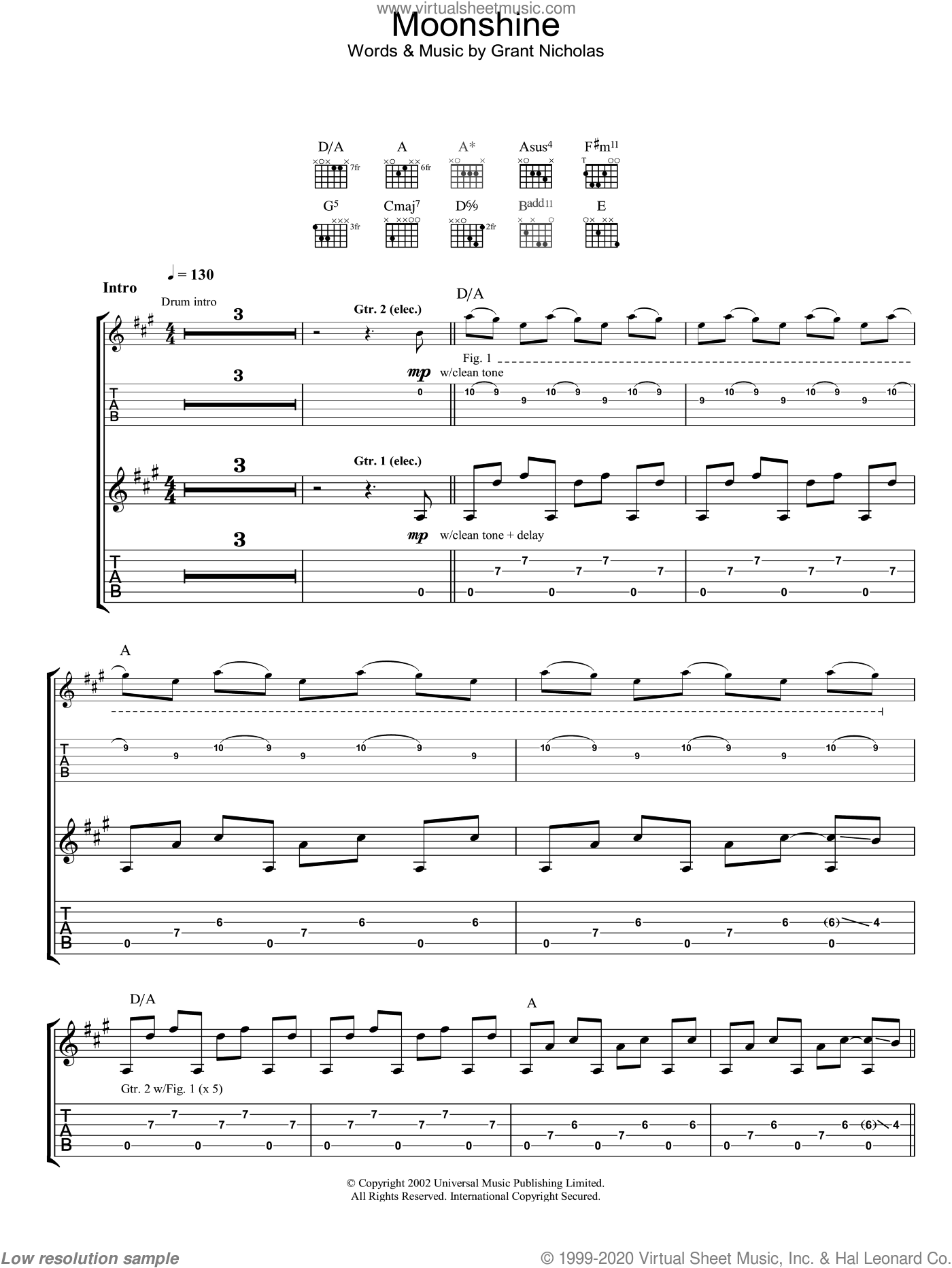 Moonshine sheet music for guitar (tablature) by Feeder, intermediate. Score Image Preview.
