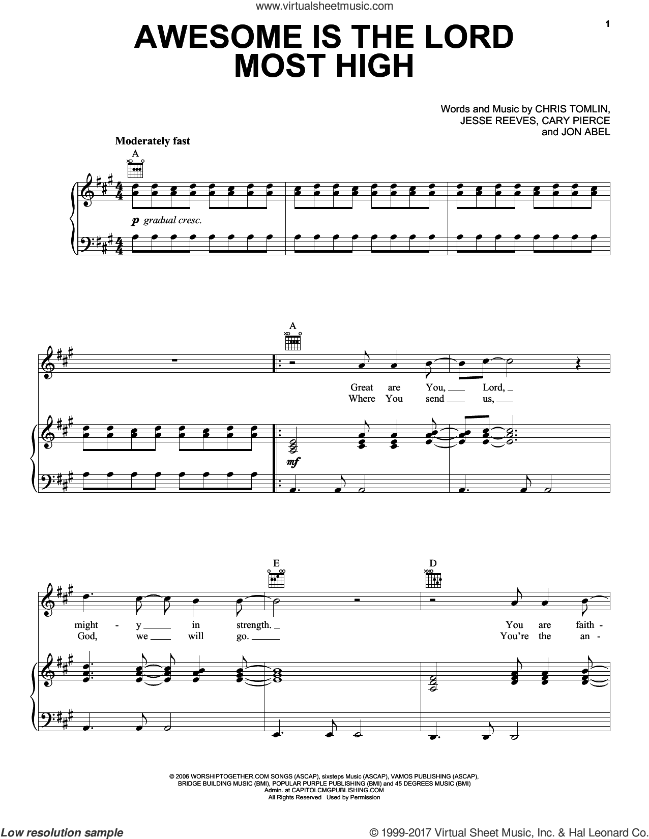 Awesome Is The Lord Most High sheet music for voice, piano or guitar by Chris Tomlin, Brenton Brown, Cary Pierce, Jesse Reeves and Jon Abel, intermediate. Score Image Preview.