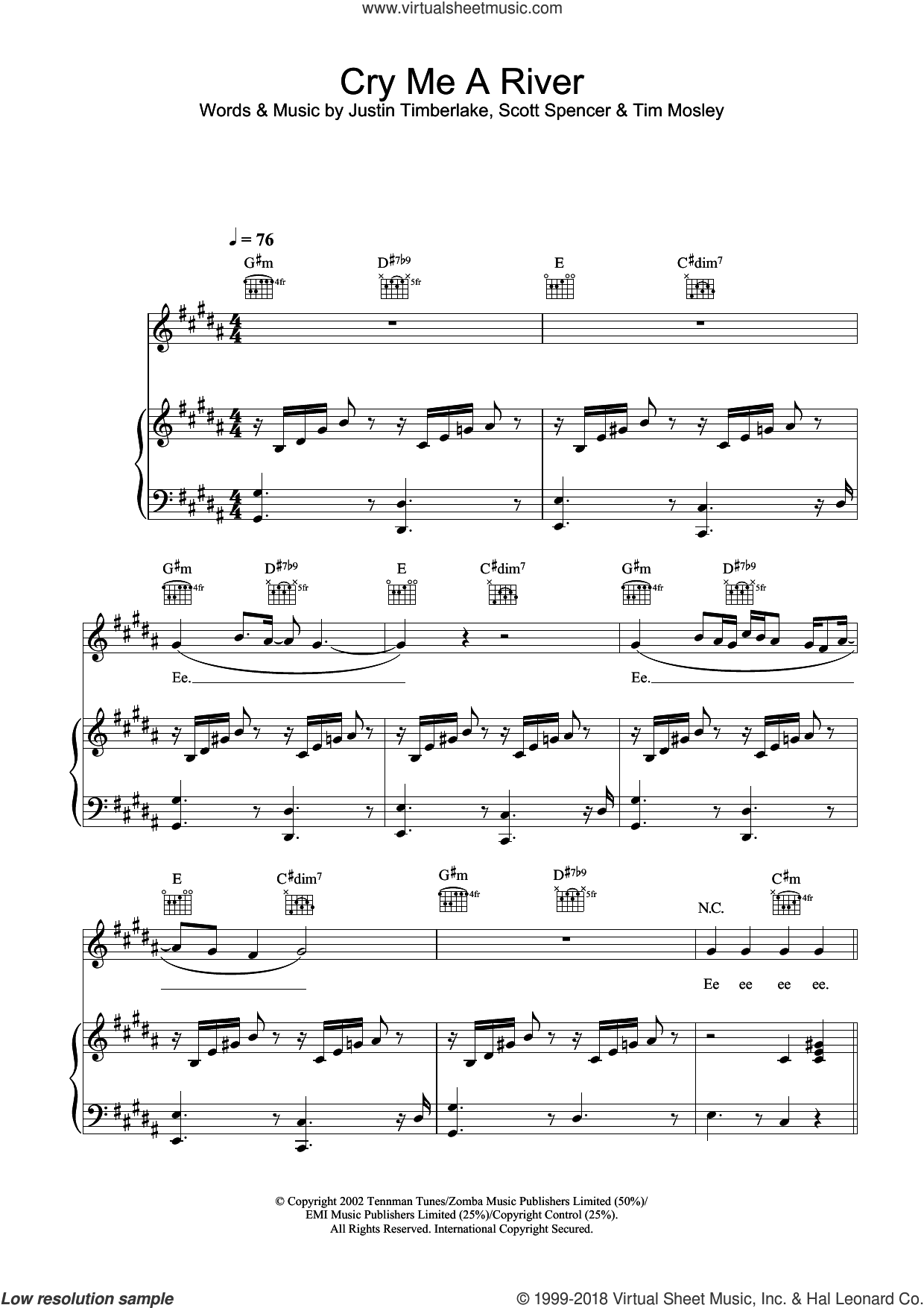 Cry Me A River sheet music for voice, piano or guitar by Justin Timberlake and Tim Mosley, intermediate. Score Image Preview.