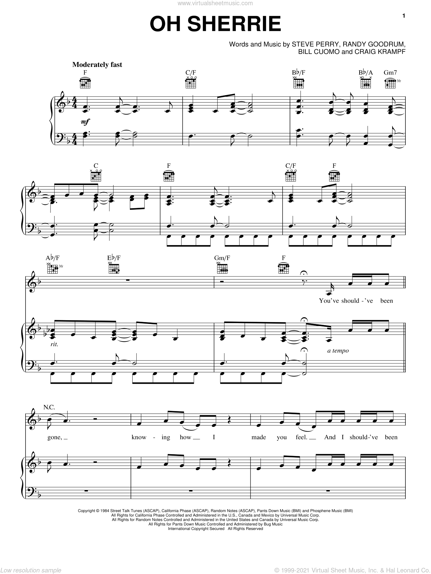 Oh Sherrie sheet music for voice, piano or guitar by Steve Perry, Rock Of Ages (Musical), Bill Cuomo, Craig Krampf and Randy Goodrum, intermediate skill level