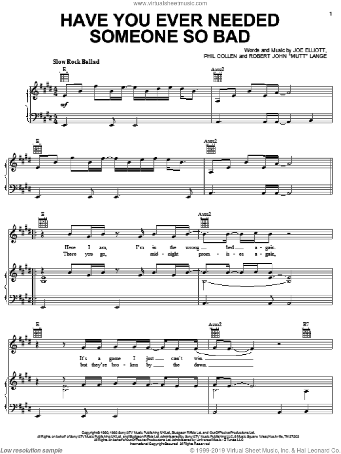 Have You Ever Needed Someone So Bad sheet music for voice, piano or guitar by Robert John Lange, Def Leppard and Joe Elliott. Score Image Preview.