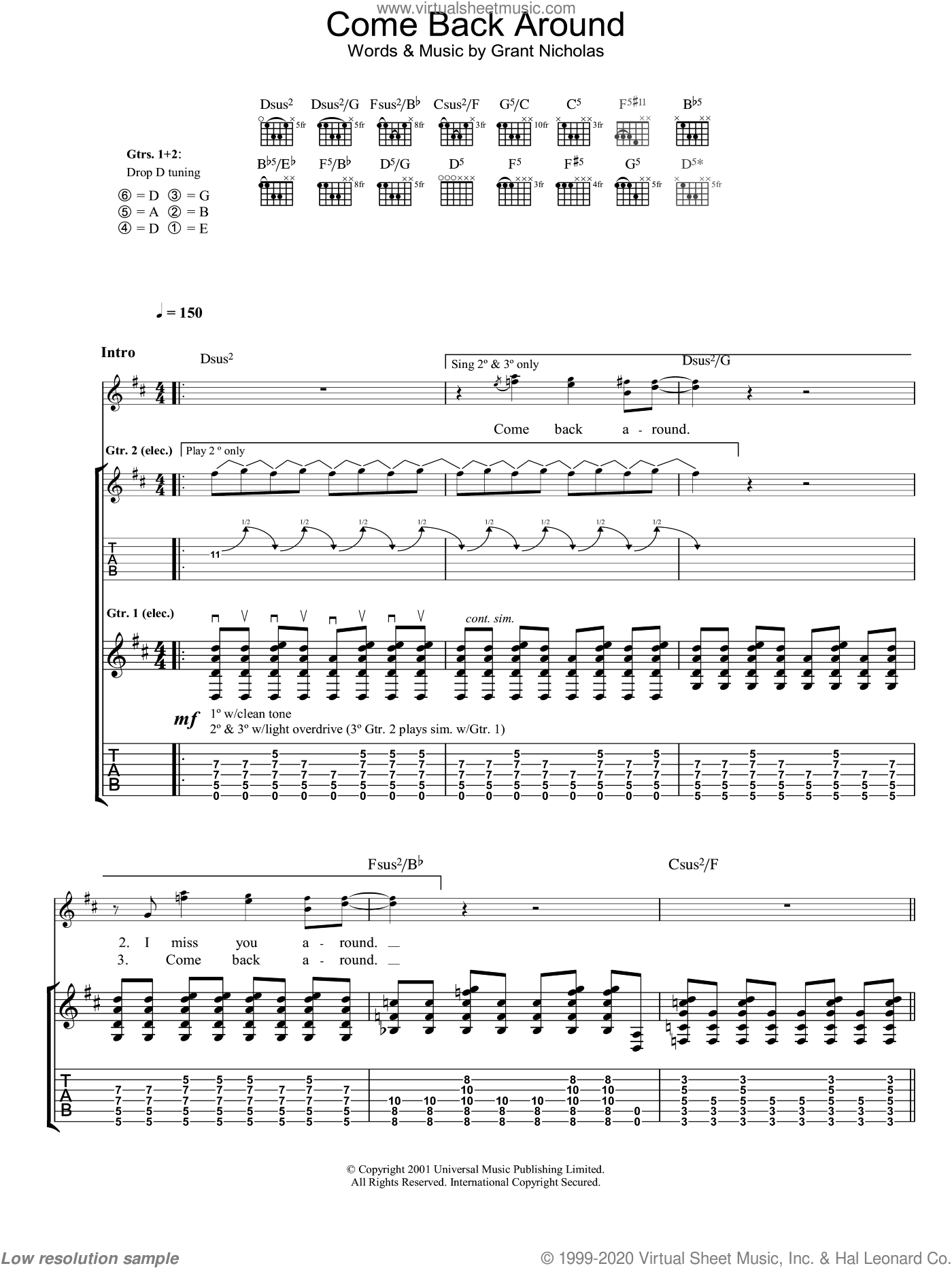 Come Back Around sheet music for guitar (tablature) by Feeder, intermediate