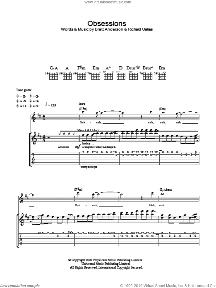 Obsessions sheet music for guitar (tablature) by Suede, intermediate skill level