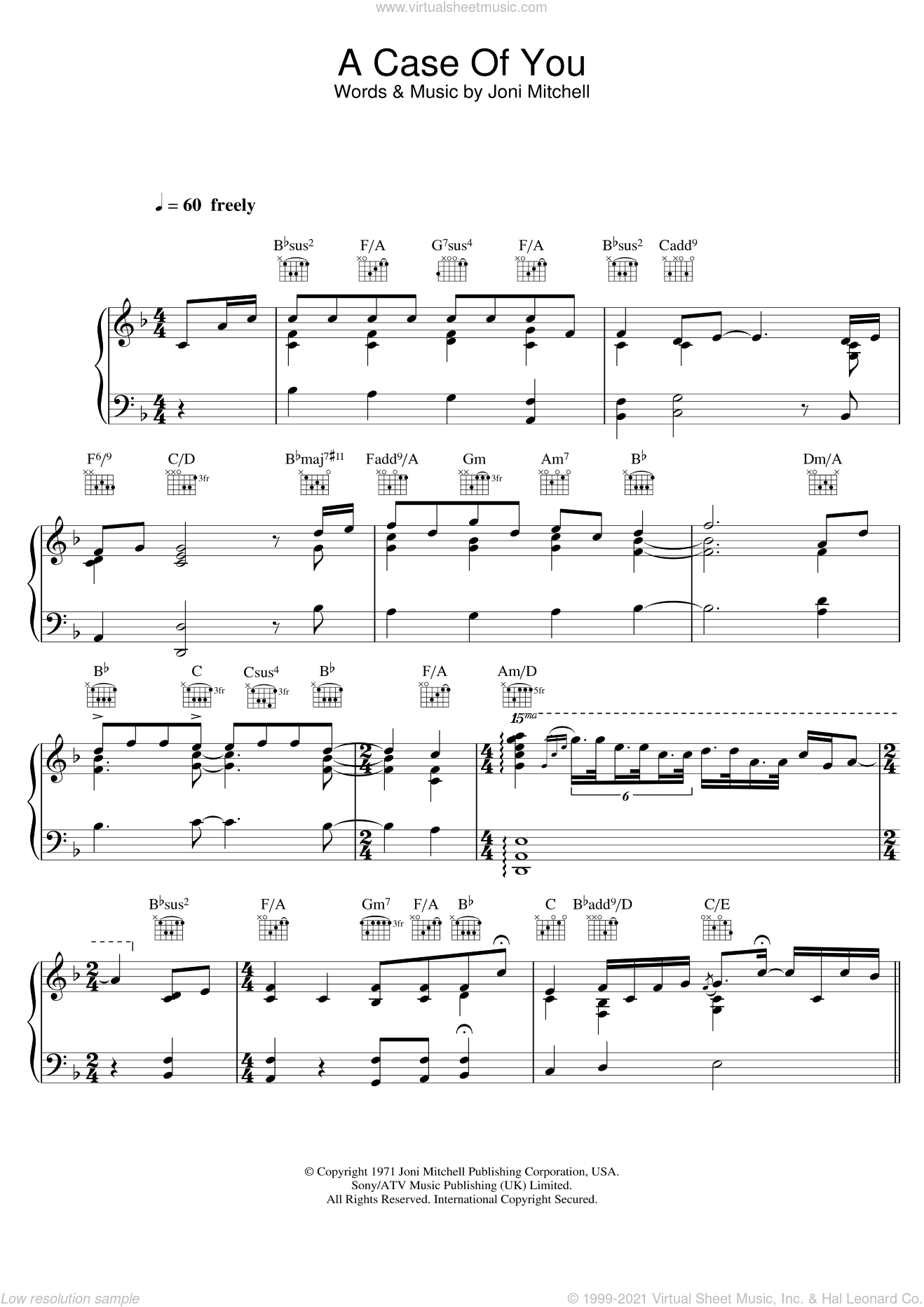 A Case Of You sheet music for voice, piano or guitar by Diana Krall and Joni Mitchell, intermediate skill level