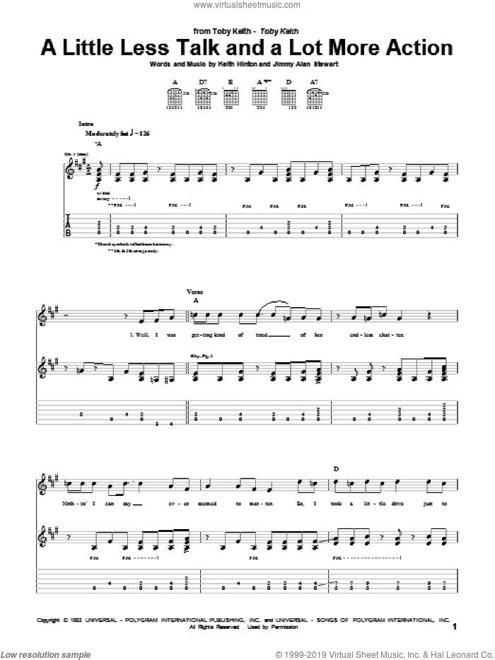 A Little Less Talk And A Lot More Action sheet music for guitar (tablature) by Keith Hinton