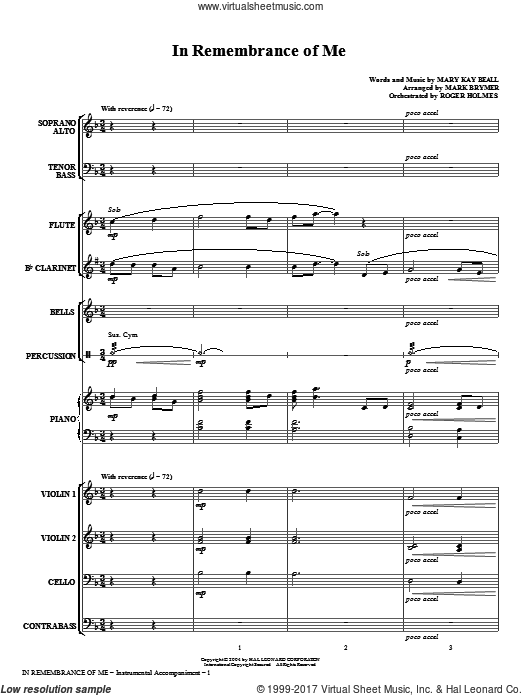 In Remembrance Of Me (COMPLETE) sheet music for orchestra by Mary Kay Beall