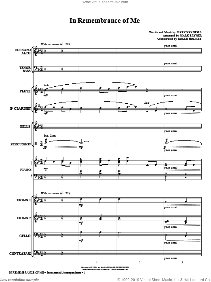 In Remembrance Of Me (COMPLETE) sheet music for orchestra/band (chamber ensemble) by Mark Brymer and Mary Kay Beall, intermediate skill level