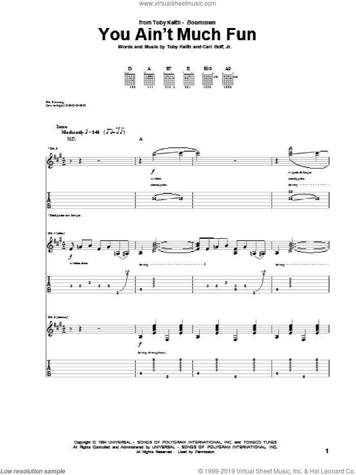 You Ain't Much Fun sheet music for guitar (tablature) by Toby Keith, intermediate. Score Image Preview.