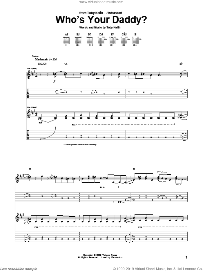 Who's Your Daddy? sheet music for guitar (tablature) by Toby Keith. Score Image Preview.