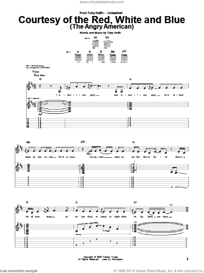 Courtesy Of The Red, White And Blue (The Angry American) sheet music for guitar (tablature) by Toby Keith. Score Image Preview.