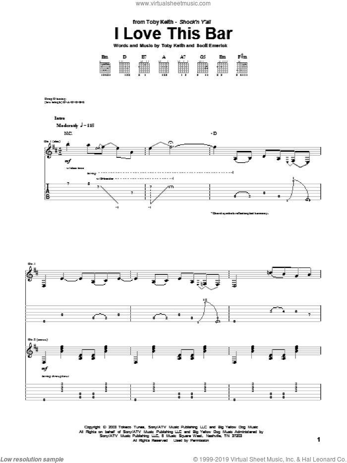 I Love This Bar sheet music for guitar (tablature) by Scotty Emerick and Toby Keith. Score Image Preview.