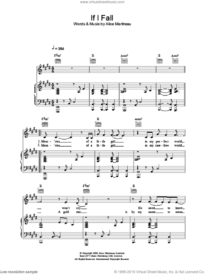 If I Fall sheet music for voice, piano or guitar by Alice Martineau. Score Image Preview.