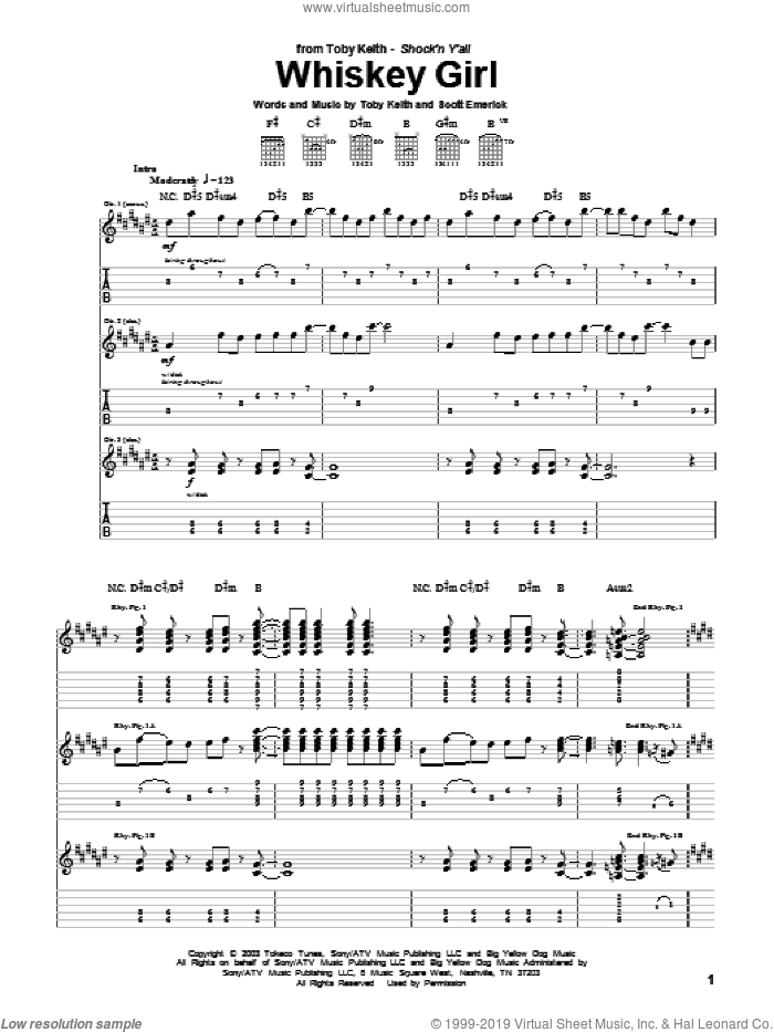 Whiskey Girl sheet music for guitar (tablature) by Toby Keith and Scotty Emerick, intermediate. Score Image Preview.