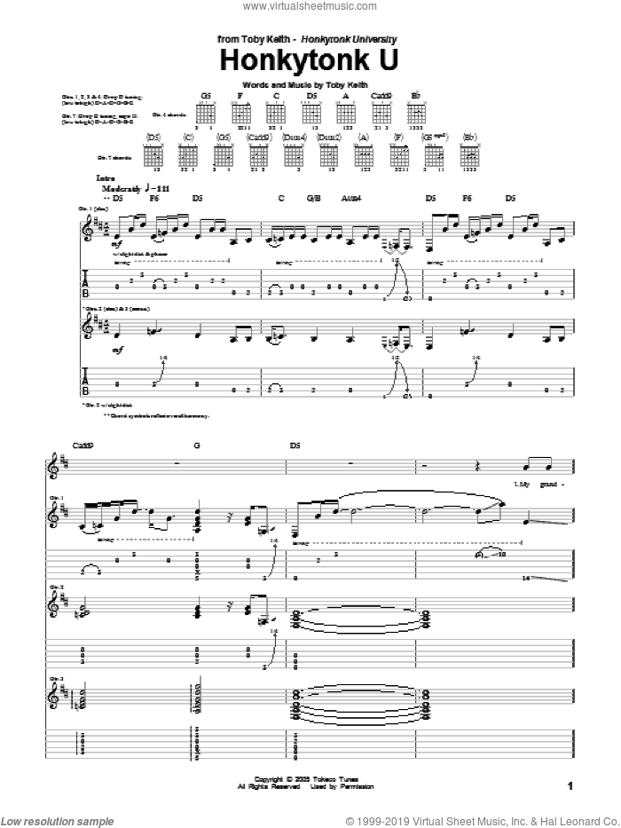 Honkytonk U sheet music for guitar (tablature) by Toby Keith. Score Image Preview.