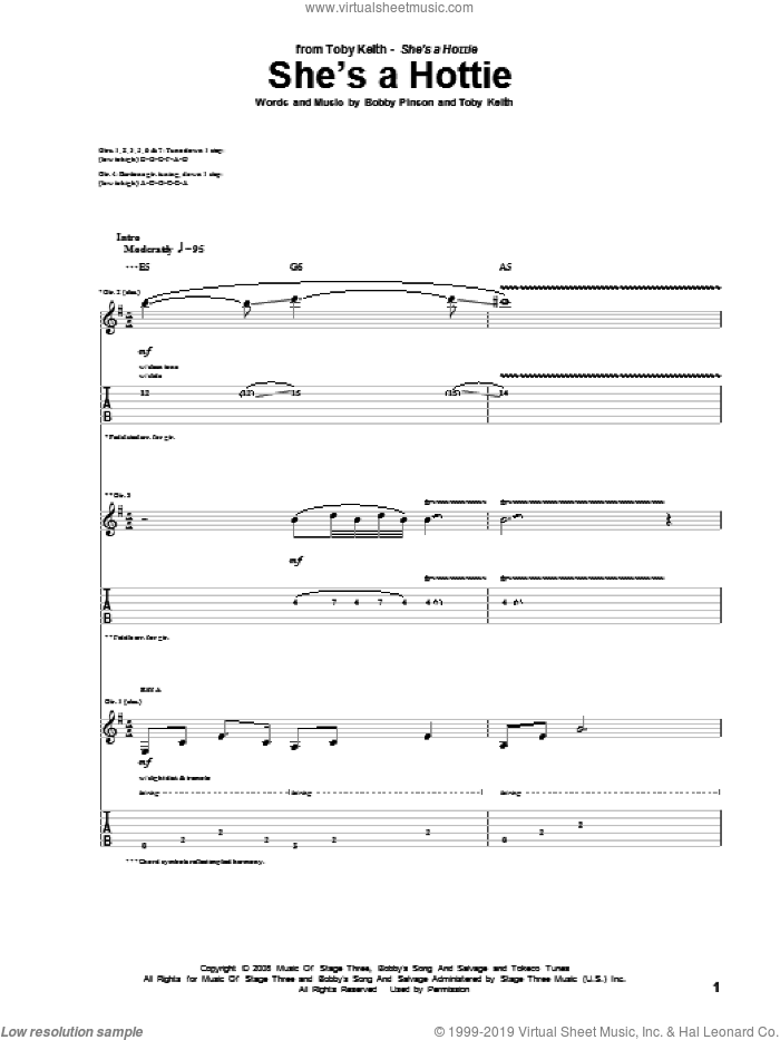 She's A Hottie sheet music for guitar (tablature) by Bobby Pinson and Toby Keith. Score Image Preview.