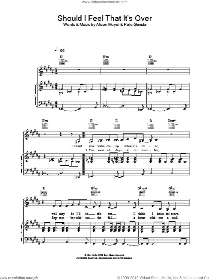 Should I Feel That It's Over sheet music for voice, piano or guitar by Alison Moyet, intermediate voice, piano or guitar. Score Image Preview.