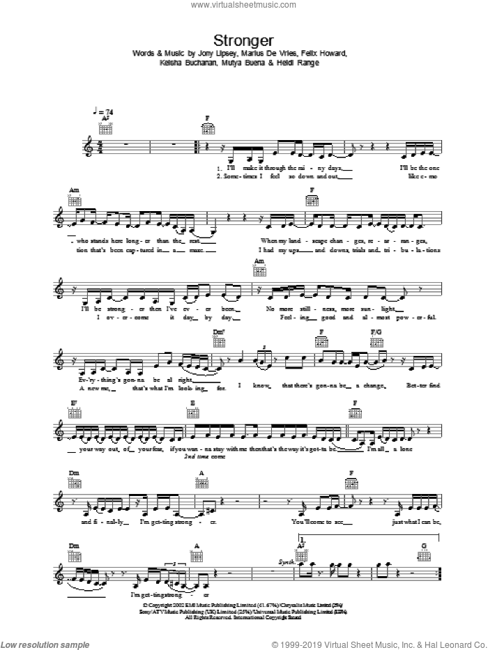 Stronger sheet music for voice and other instruments (fake book) by Sugababes, intermediate. Score Image Preview.