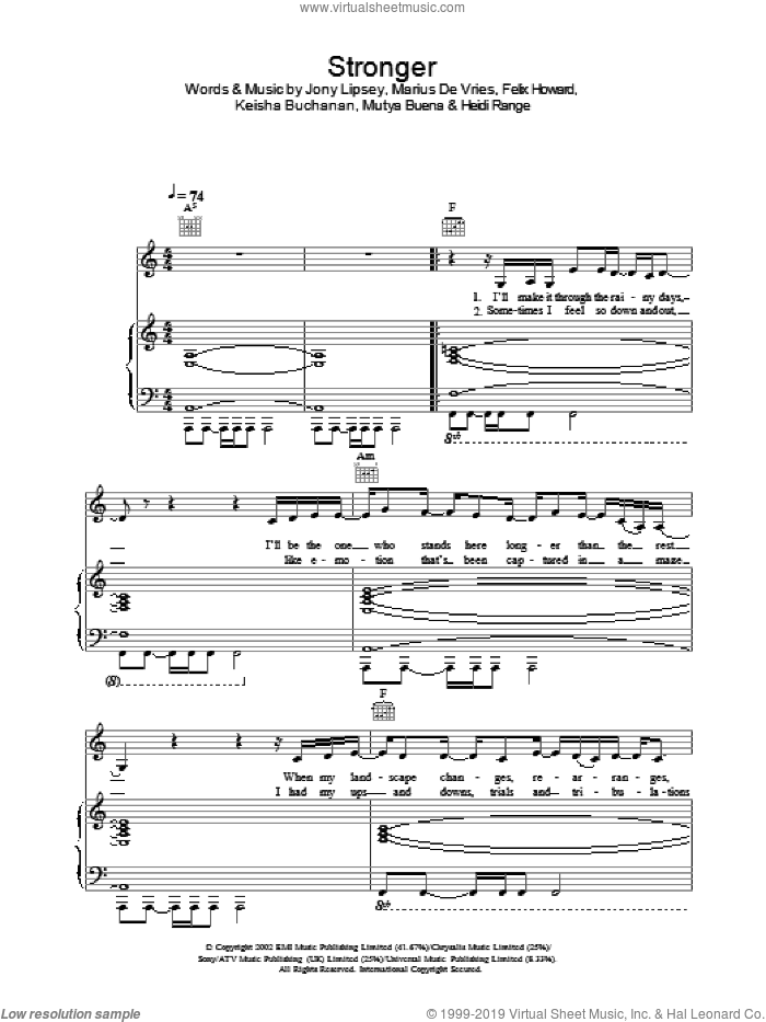 Stronger sheet music for voice, piano or guitar by Sugababes. Score Image Preview.