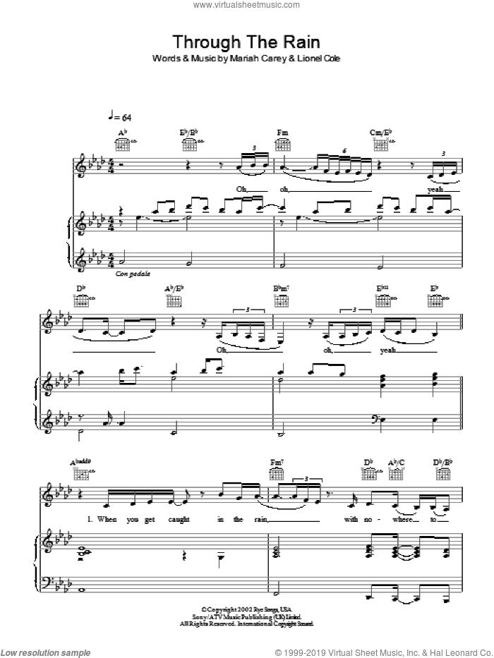 Through The Rain sheet music for voice, piano or guitar by Mariah Carey, intermediate skill level