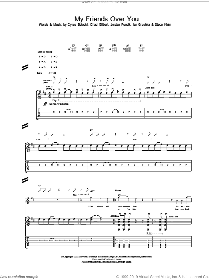 My Friends Over You sheet music for guitar (tablature) by New Found Glory