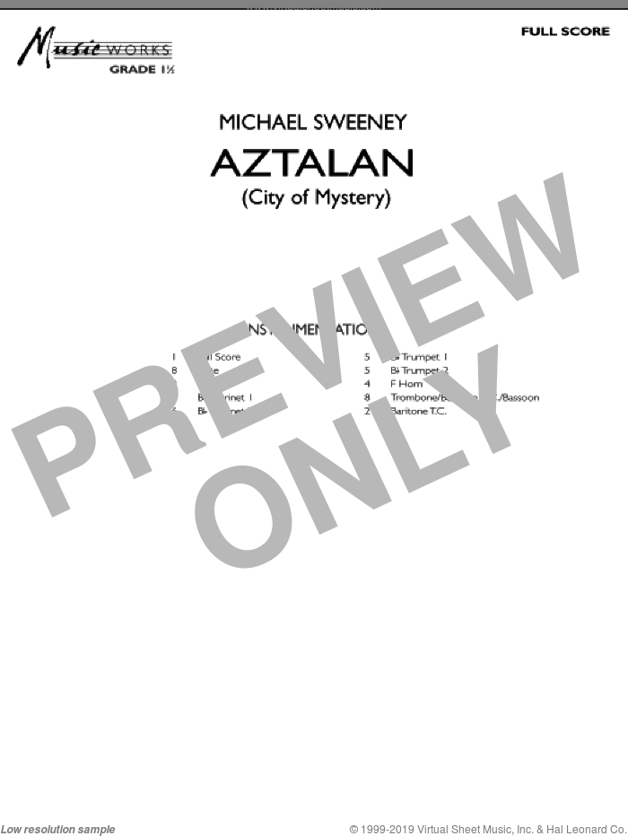 Aztalan (City of Mystery) (COMPLETE) sheet music for concert band by Michael Sweeney, intermediate. Score Image Preview.