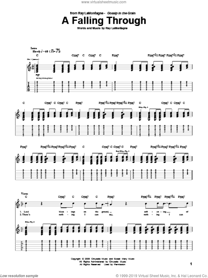 A Falling Through sheet music for guitar (tablature) by Ray LaMontagne. Score Image Preview.