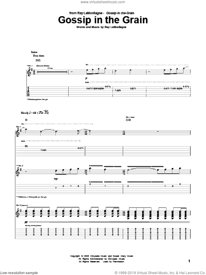 Gossip In The Grain sheet music for guitar (tablature) by Ray LaMontagne, intermediate. Score Image Preview.