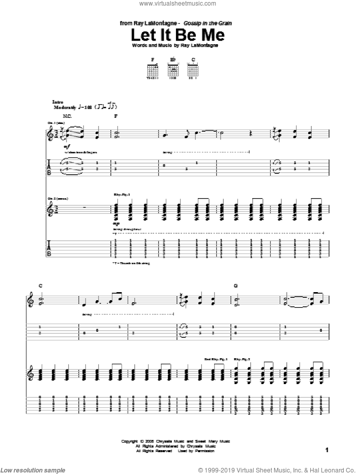 Let It Be Me sheet music for guitar (tablature) by Ray LaMontagne, intermediate. Score Image Preview.