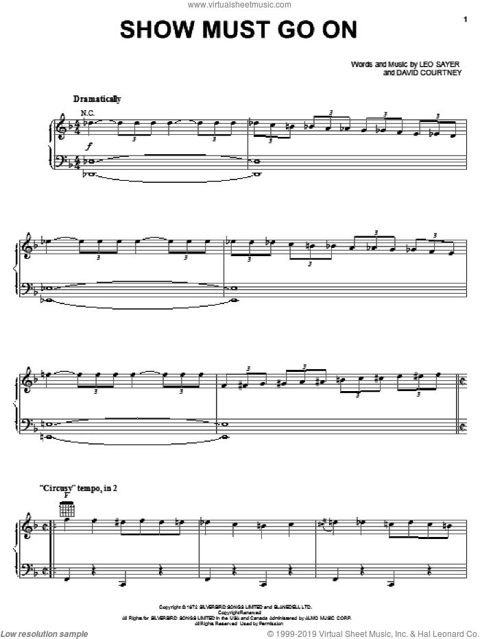 Show Must Go On sheet music for voice, piano or guitar by Three Dog Night, David Courtney and Leo Sayer, intermediate skill level