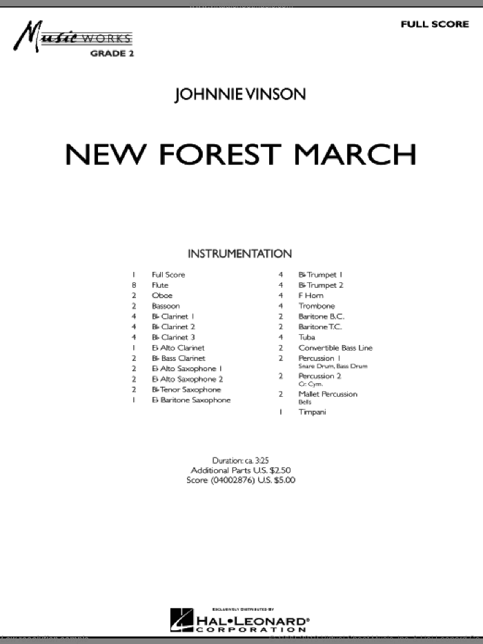 New Forest March sheet music for concert band (full score) by Johnnie Vinson