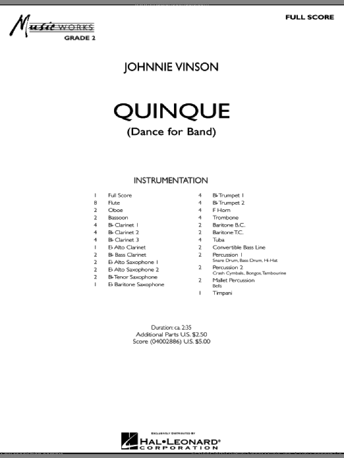 Quinque (Dance for Band) sheet music for concert band (full score) by Johnnie Vinson