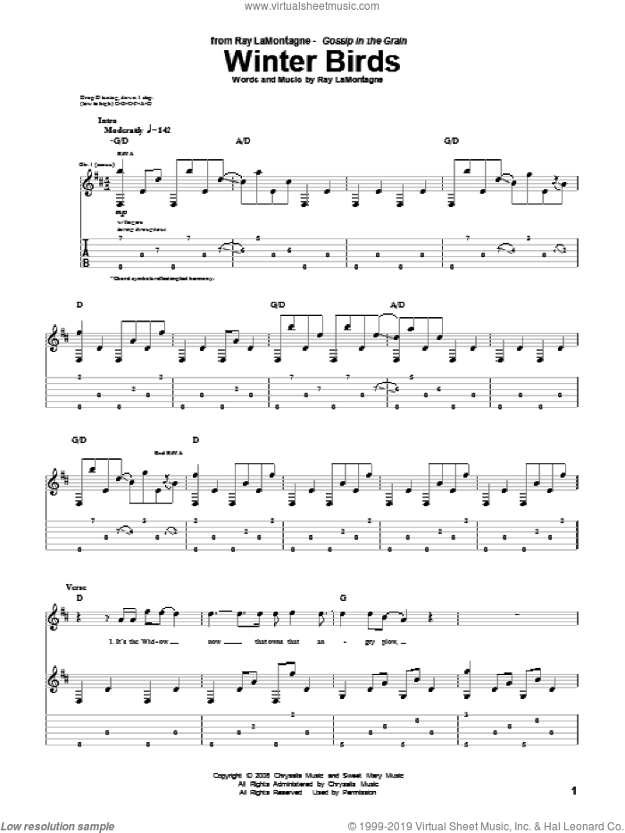 Winter Birds sheet music for guitar (tablature) by Ray LaMontagne. Score Image Preview.